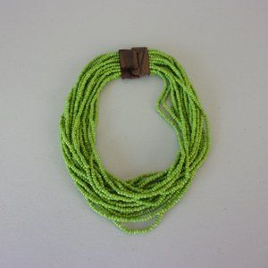 Multi Strand Beaded Wood Clasp Necklace